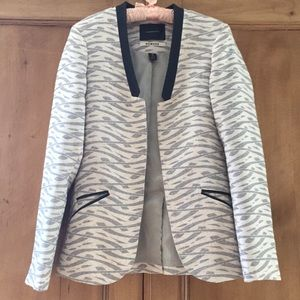 Maison Scotch Nomade Linen & Leather Blazer  10